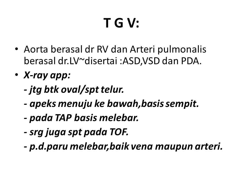 T G V: Aorta berasal dr RV dan Arteri pulmonalis berasal dr.LV~disertai :ASD,VSD dan PDA. X-ray app: