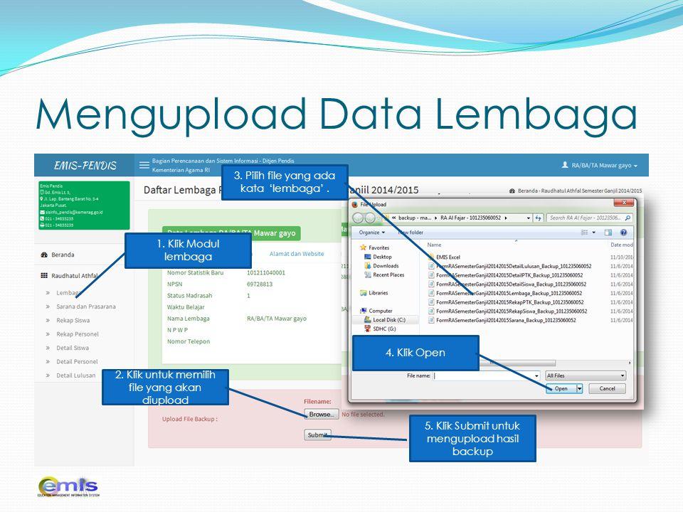 Mengupload Data Lembaga