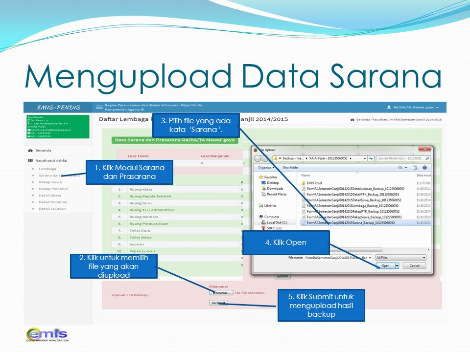 Mengupload Data Sarana
