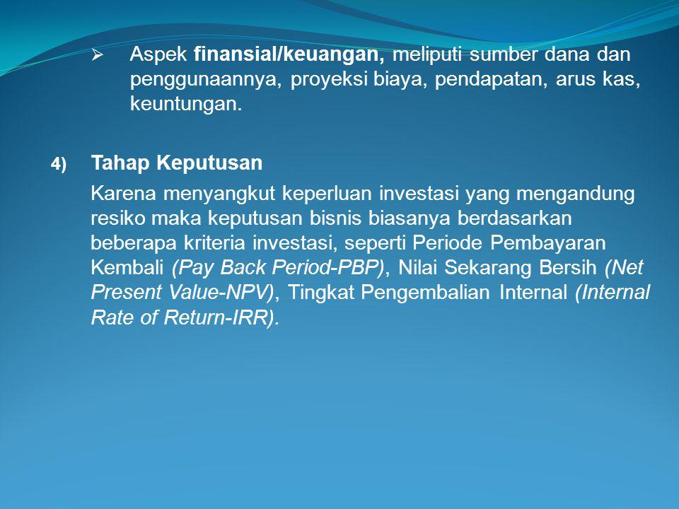 Aspek finansial/keuangan, meliputi sumber dana dan penggunaannya, proyeksi biaya, pendapatan, arus kas, keuntungan.