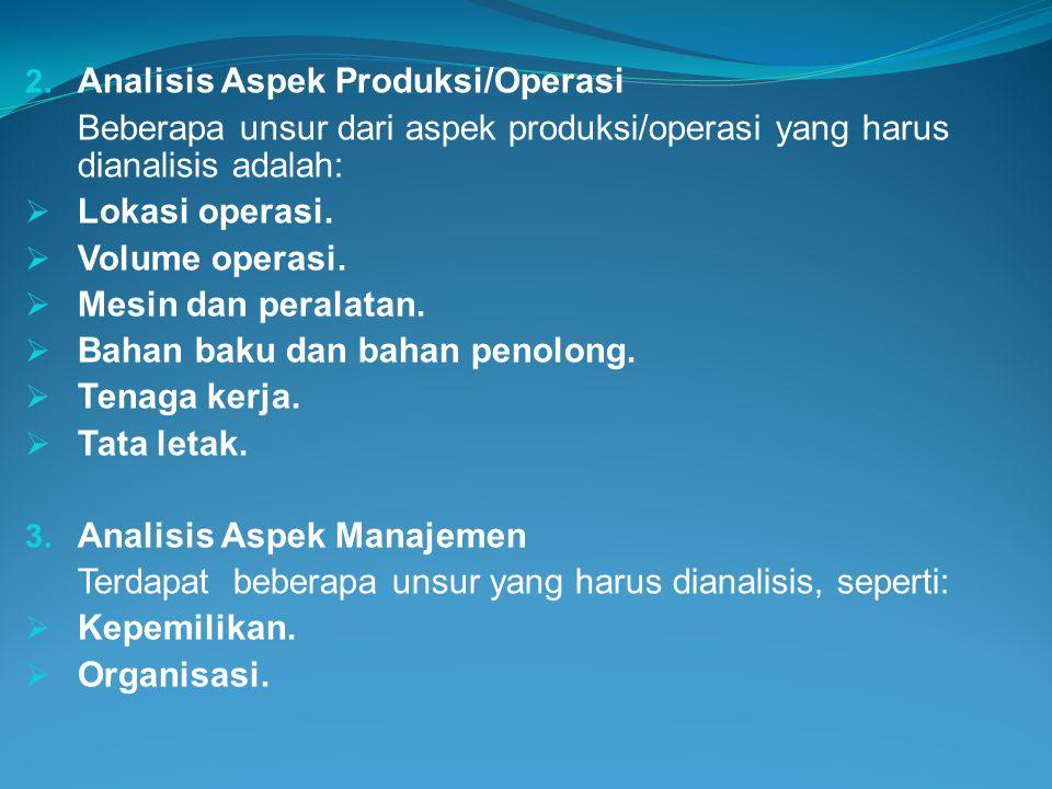 Analisis Aspek Produksi/Operasi