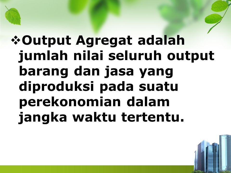 Output Agregat adalah jumlah nilai seluruh output barang dan jasa yang diproduksi pada suatu perekonomian dalam jangka waktu tertentu.