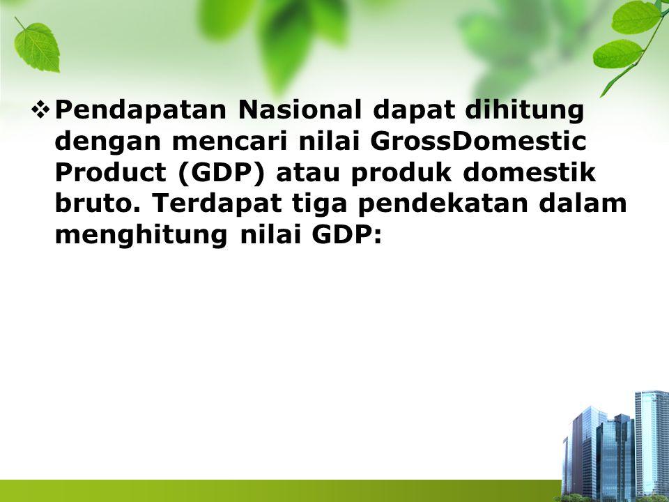 Pendapatan Nasional dapat dihitung dengan mencari nilai GrossDomestic Product (GDP) atau produk domestik bruto.