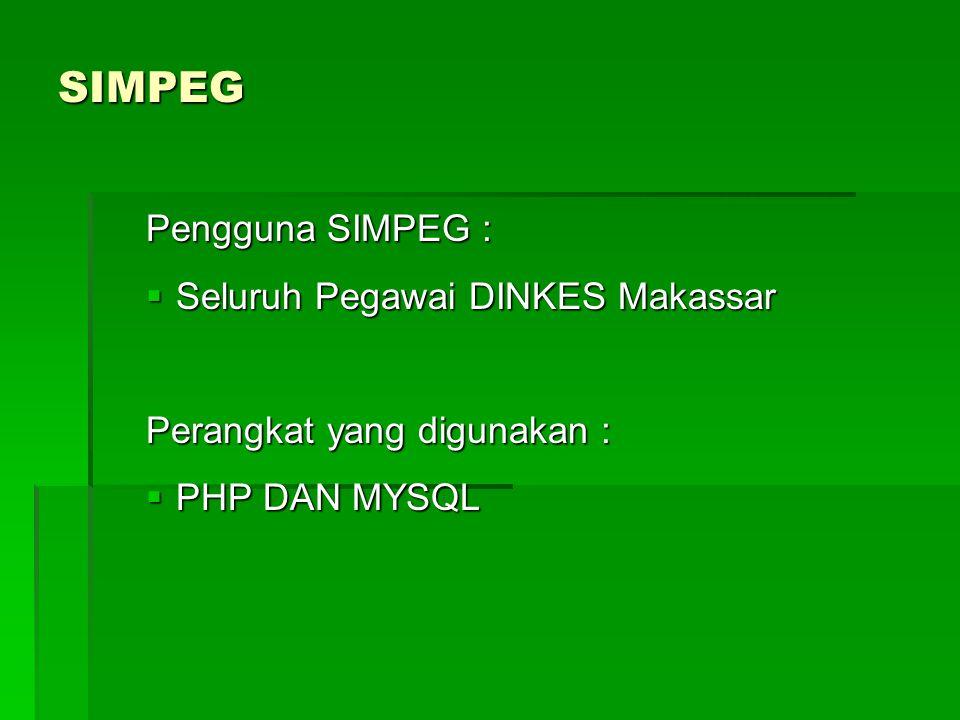 SIMPEG Pengguna SIMPEG : Seluruh Pegawai DINKES Makassar