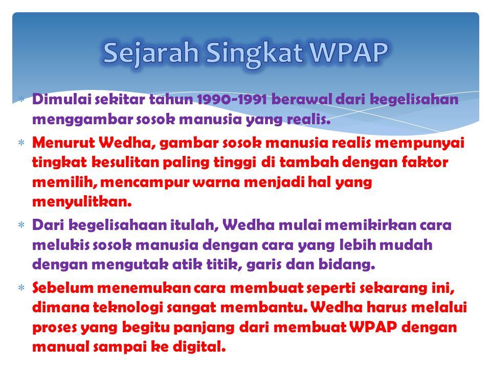 Sejarah Singkat WPAP Dimulai sekitar tahun 1990-1991 berawal dari kegelisahan menggambar sosok manusia yang realis.