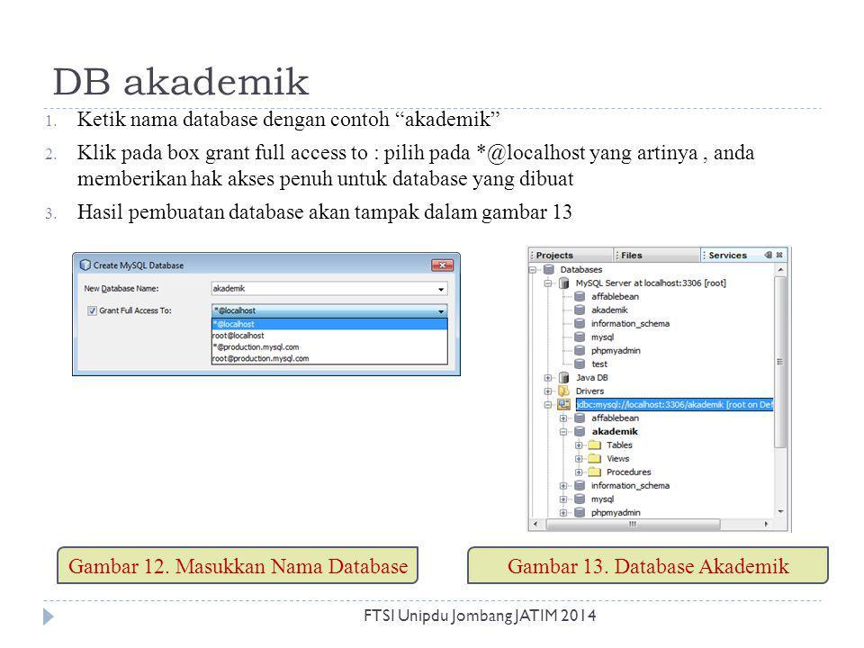 DB akademik Ketik nama database dengan contoh akademik