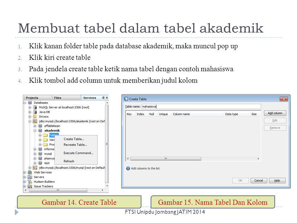 Membuat tabel dalam tabel akademik