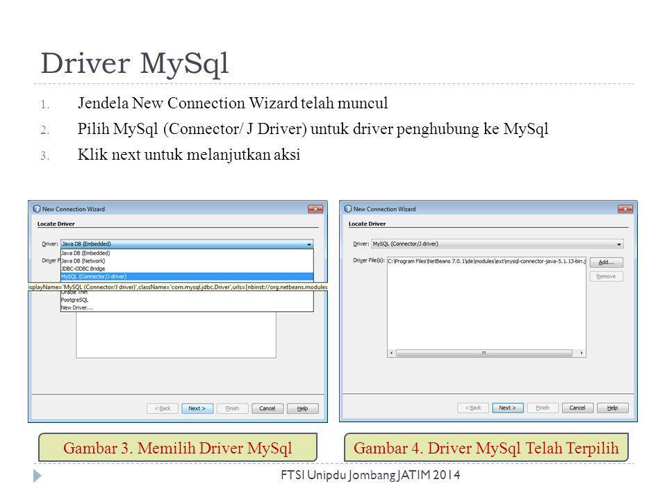 Driver MySql Jendela New Connection Wizard telah muncul