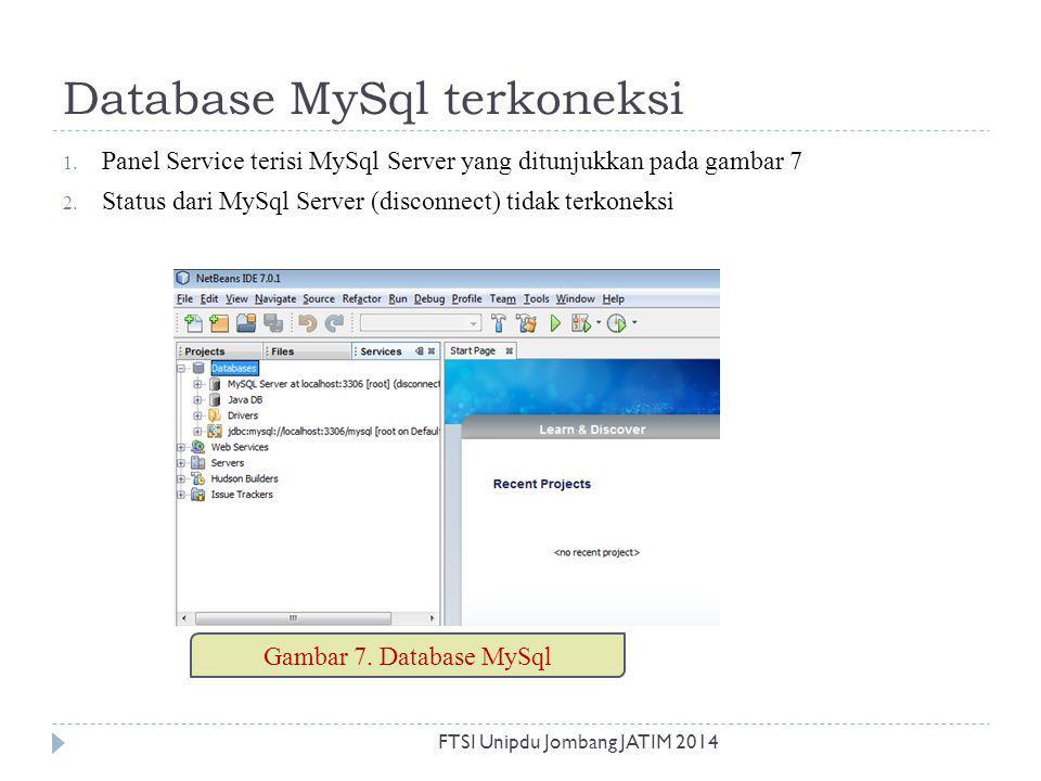 Database MySql terkoneksi