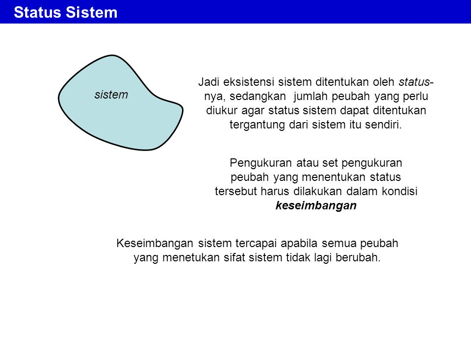 Status Sistem sistem.