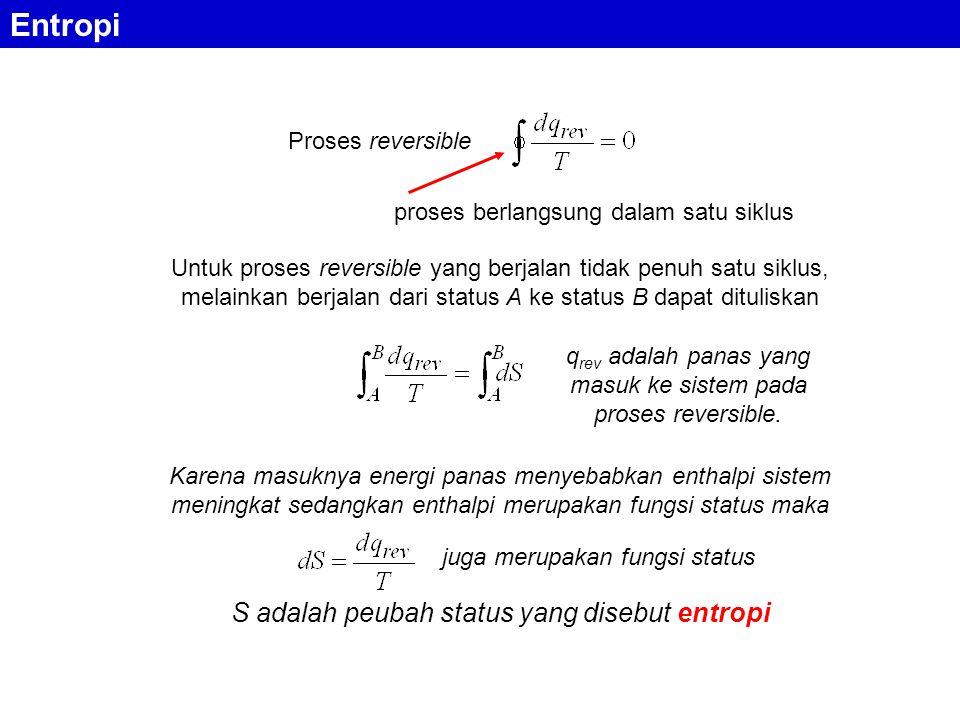 Entropi S adalah peubah status yang disebut entropi Proses reversible
