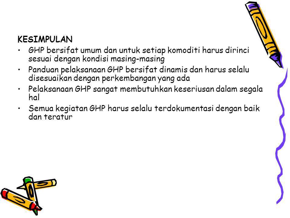 KESIMPULAN GHP bersifat umum dan untuk setiap komoditi harus dirinci sesuai dengan kondisi masing-masing.