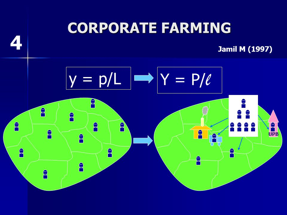 CORPORATE FARMING 4 Jamil M (1997) y = p/L Y = P/l UPB