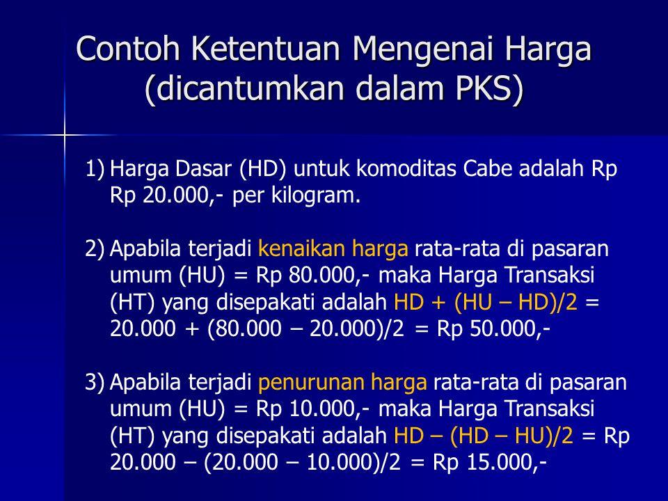 Contoh Ketentuan Mengenai Harga (dicantumkan dalam PKS)