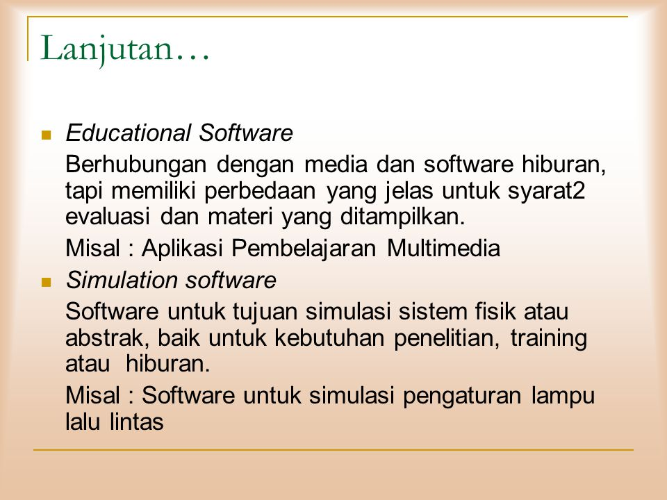 Lanjutan… Educational Software