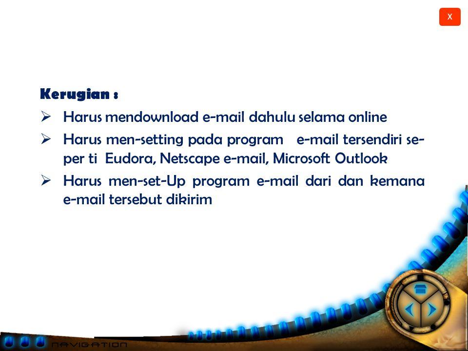Kerugian : Harus mendownload e-mail dahulu selama online.