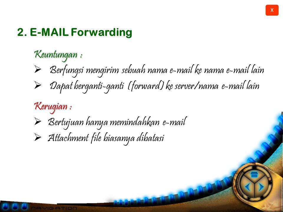 2. E-MAIL Forwarding Keuntungan : Berfungsi mengirim sebuah nama e-mail ke nama e-mail lain.