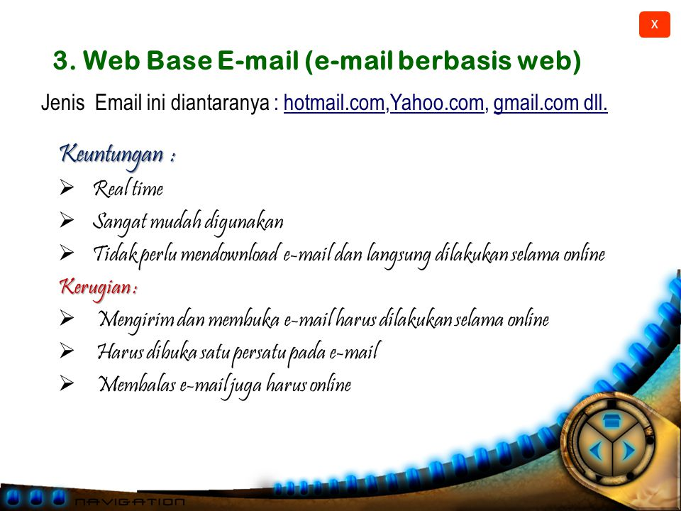 3. Web Base E-mail (e-mail berbasis web)