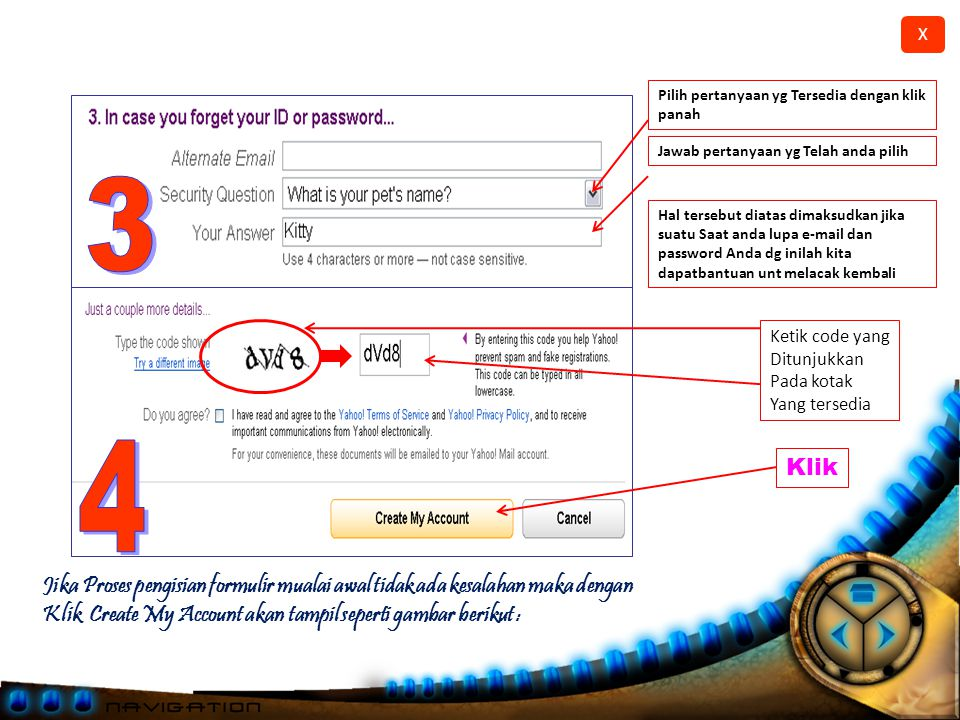 Pilih pertanyaan yg Tersedia dengan klik panah
