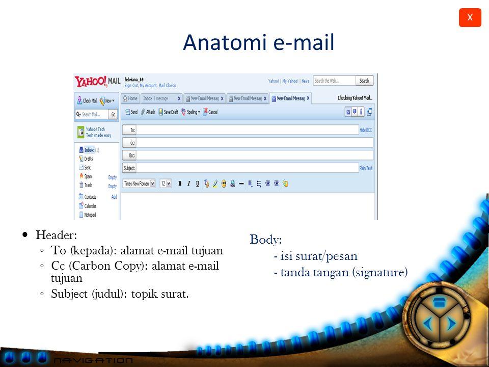 Anatomi e-mail Body: - isi surat/pesan - tanda tangan (signature)