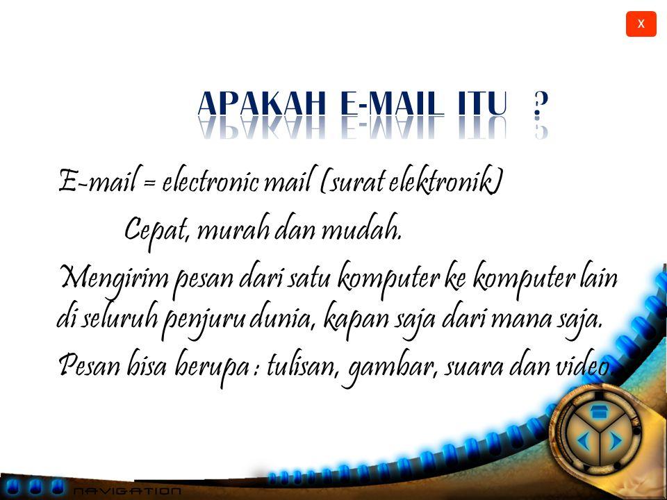 APAKAH E-MAIL ITU E-mail = electronic mail (surat elektronik)