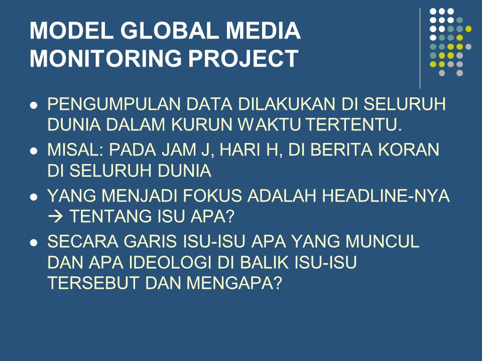 MODEL GLOBAL MEDIA MONITORING PROJECT