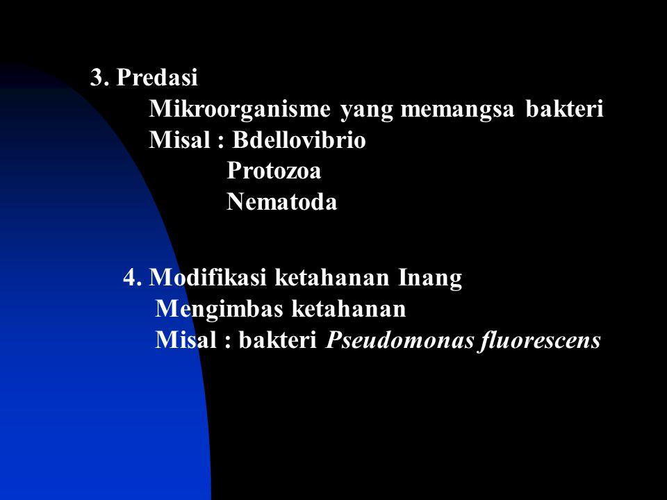 3. Predasi Mikroorganisme yang memangsa bakteri. Misal : Bdellovibrio. Protozoa. Nematoda. 4. Modifikasi ketahanan Inang.