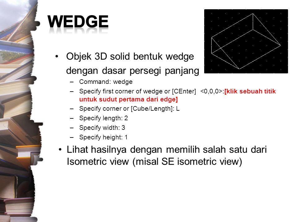 WEDGE Objek 3D solid bentuk wedge dengan dasar persegi panjang