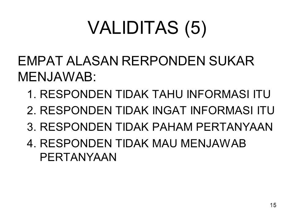 VALIDITAS (5) EMPAT ALASAN RERPONDEN SUKAR MENJAWAB: