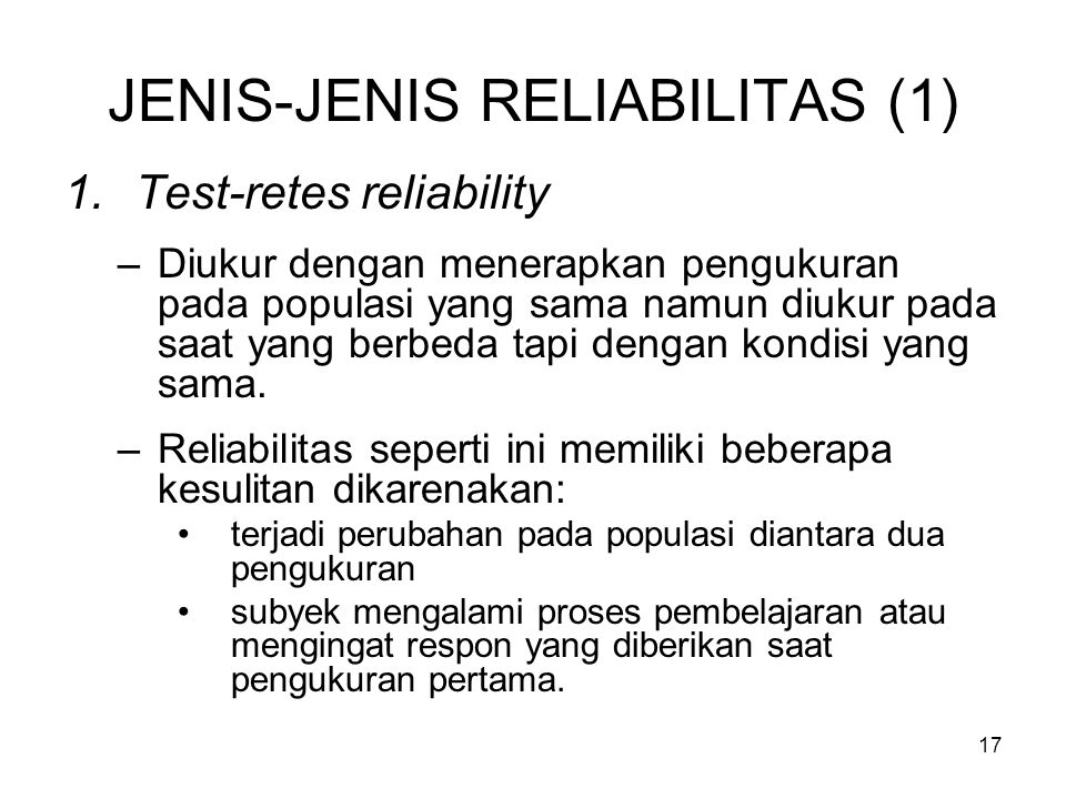 JENIS-JENIS RELIABILITAS (1)
