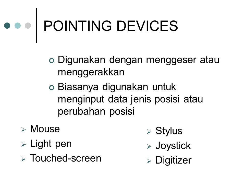 POINTING DEVICES Digunakan dengan menggeser atau menggerakkan