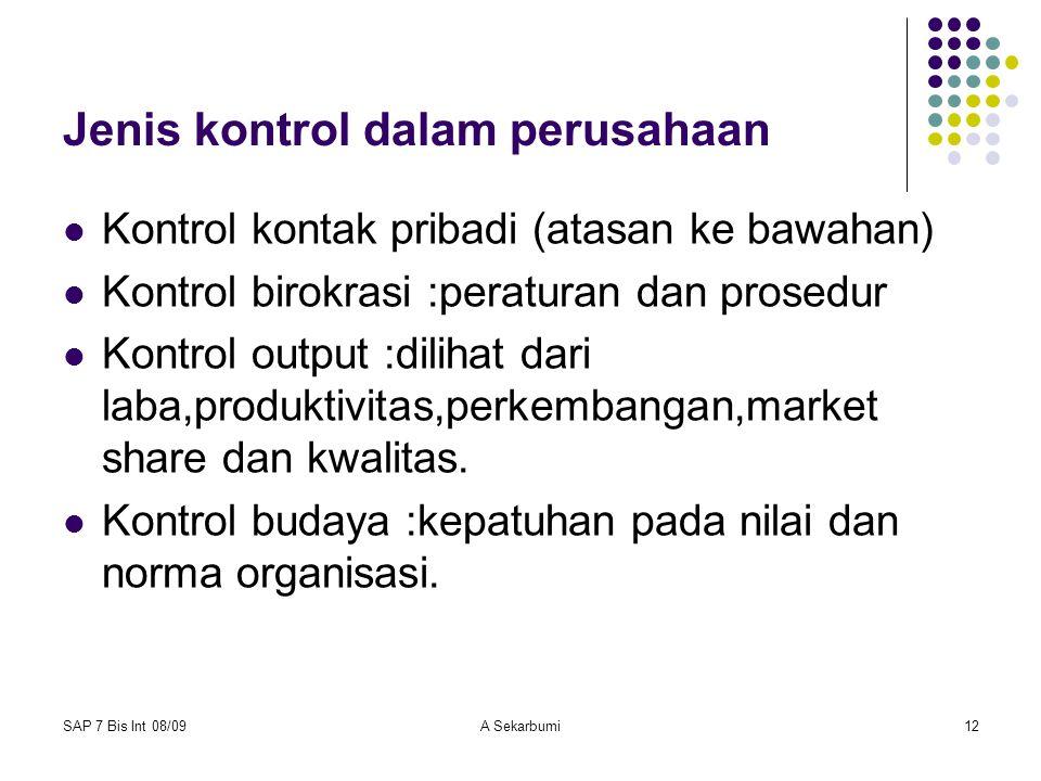 Jenis kontrol dalam perusahaan