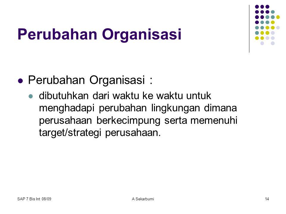 Perubahan Organisasi Perubahan Organisasi :