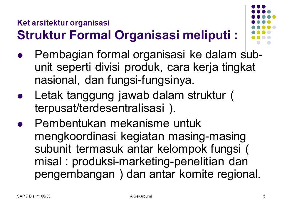 Ket arsitektur organisasi Struktur Formal Organisasi meliputi :