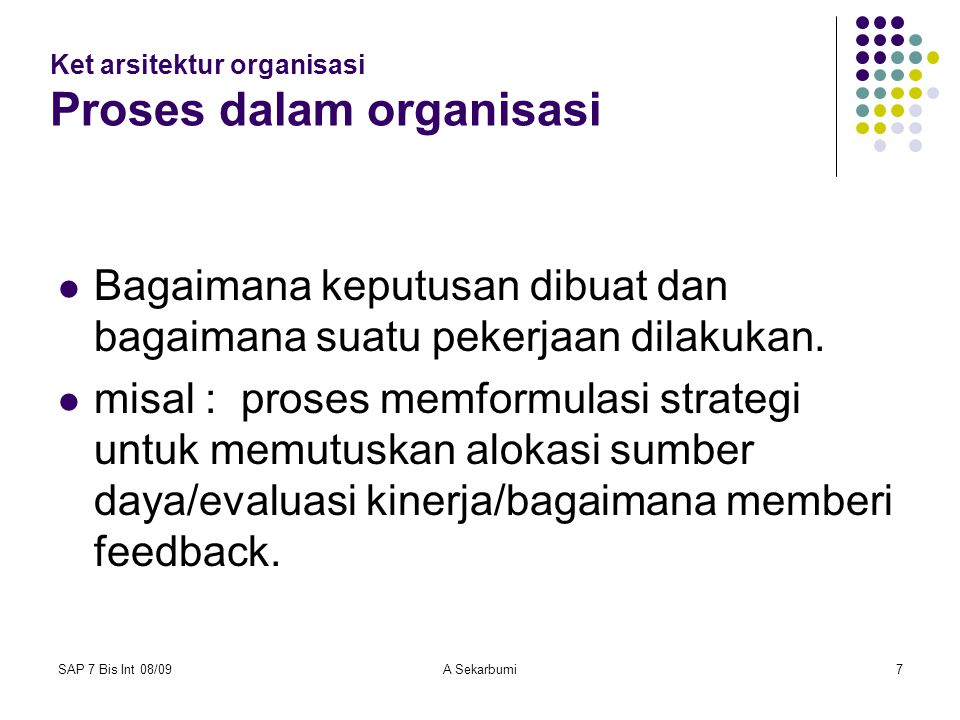 Ket arsitektur organisasi Proses dalam organisasi