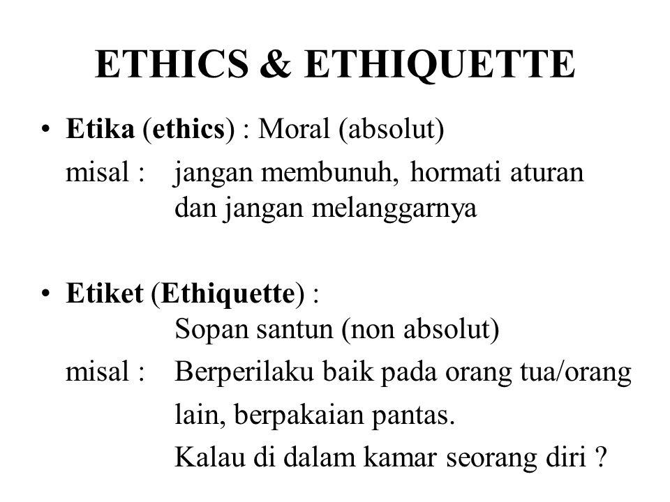 ETHICS & ETHIQUETTE Etika (ethics) : Moral (absolut)