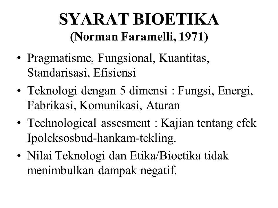 SYARAT BIOETIKA (Norman Faramelli, 1971)