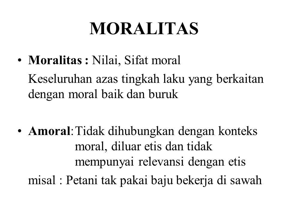 MORALITAS Moralitas : Nilai, Sifat moral