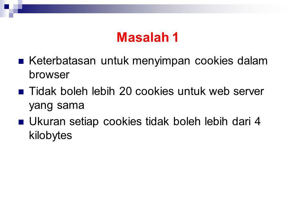 Masalah 1 Keterbatasan untuk menyimpan cookies dalam browser