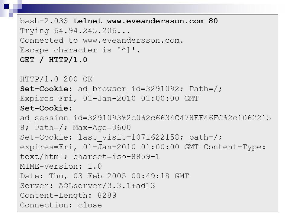 bash-2.03$ telnet www.eveandersson.com 80