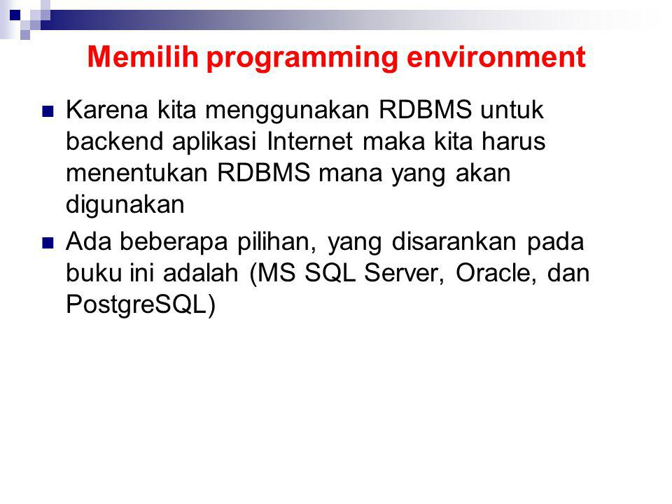 Memilih programming environment