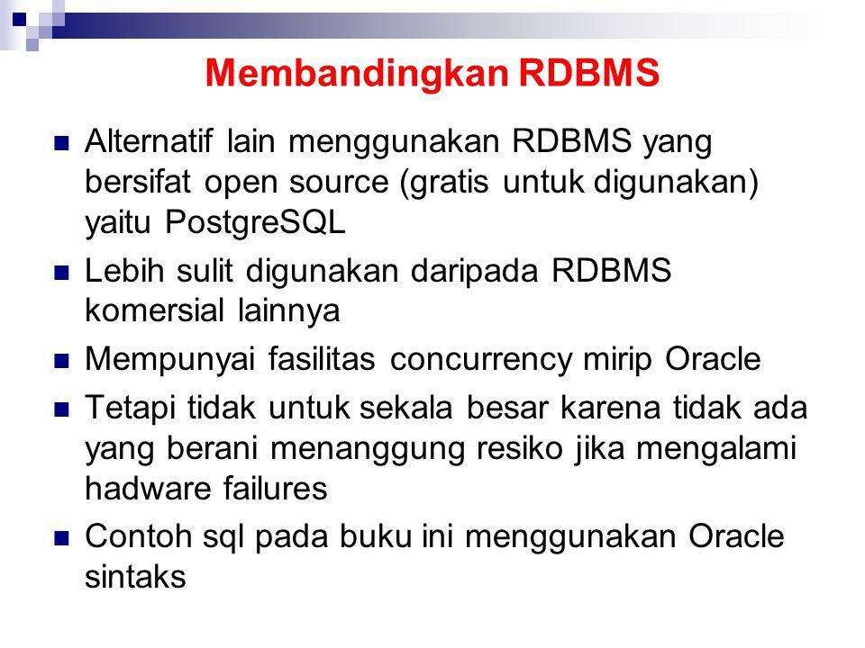 Membandingkan RDBMS Alternatif lain menggunakan RDBMS yang bersifat open source (gratis untuk digunakan) yaitu PostgreSQL.