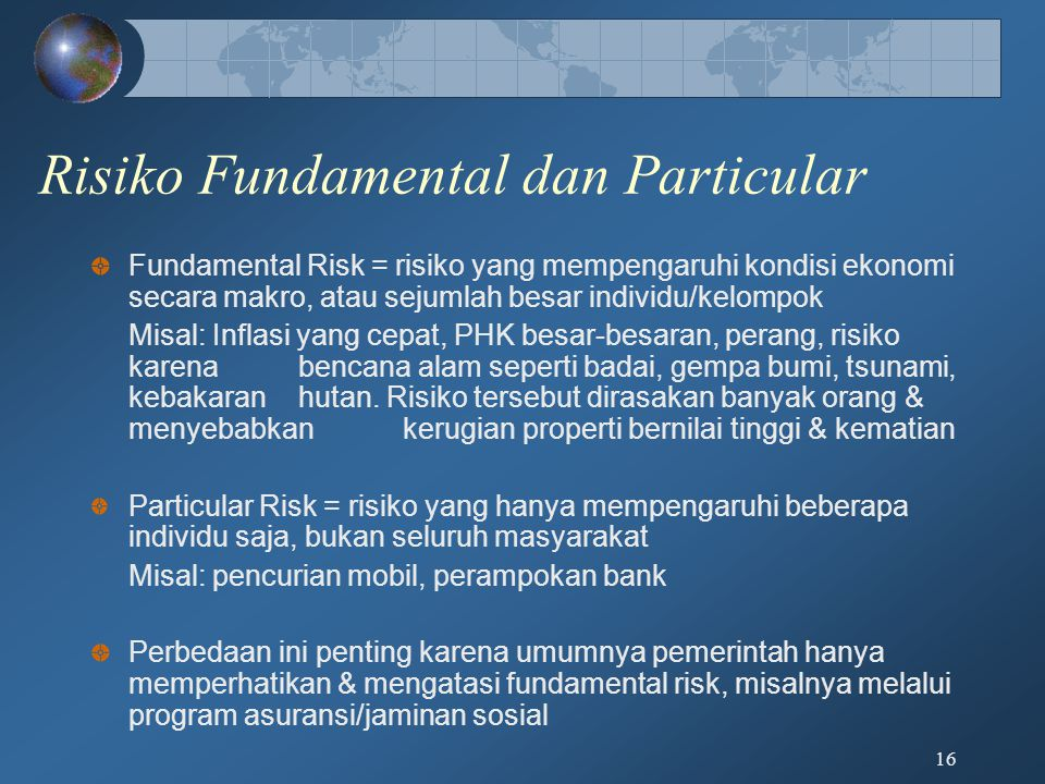 Risiko Fundamental dan Particular