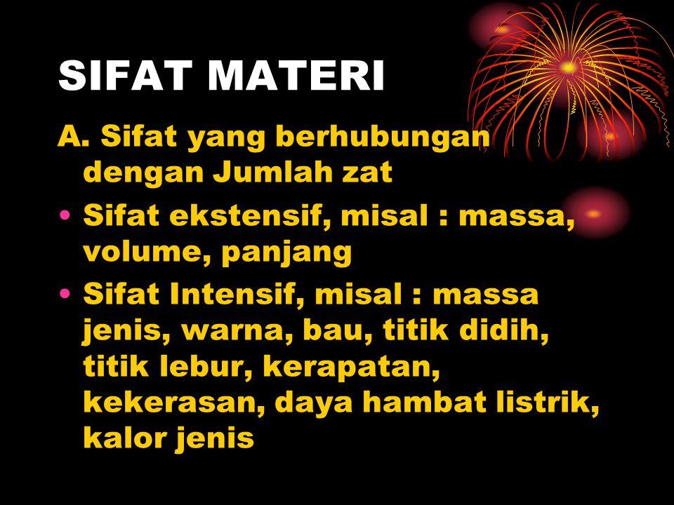 SIFAT MATERI A. Sifat yang berhubungan dengan Jumlah zat
