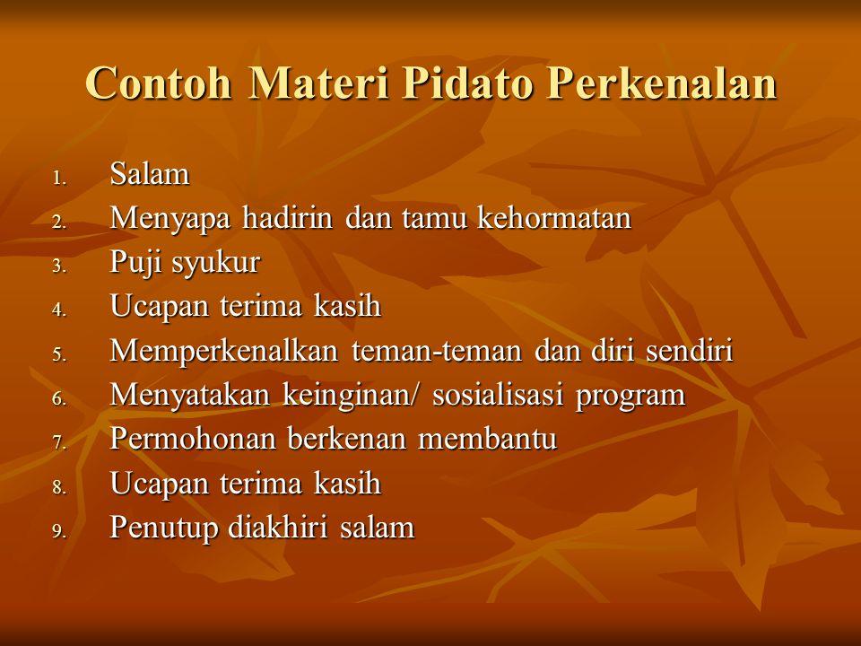 Contoh Materi Pidato Perkenalan
