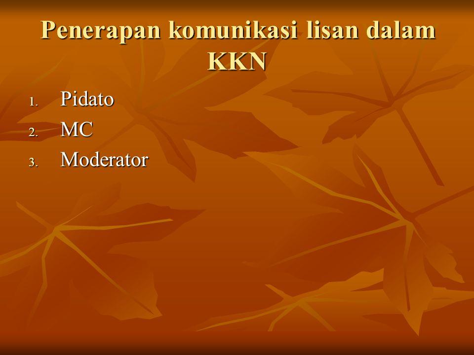 Penerapan komunikasi lisan dalam KKN