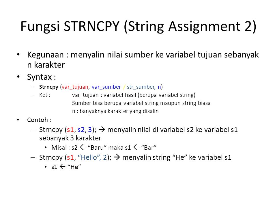 Fungsi STRNCPY (String Assignment 2)