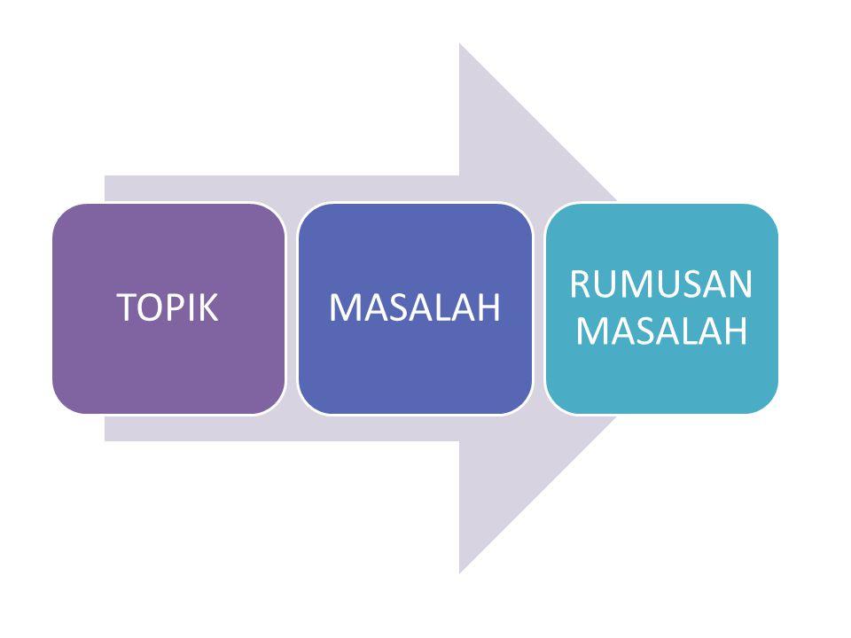 TOPIK MASALAH RUMUSAN MASALAH