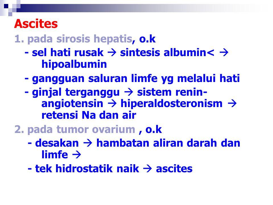 Ascites 1. pada sirosis hepatis, o.k