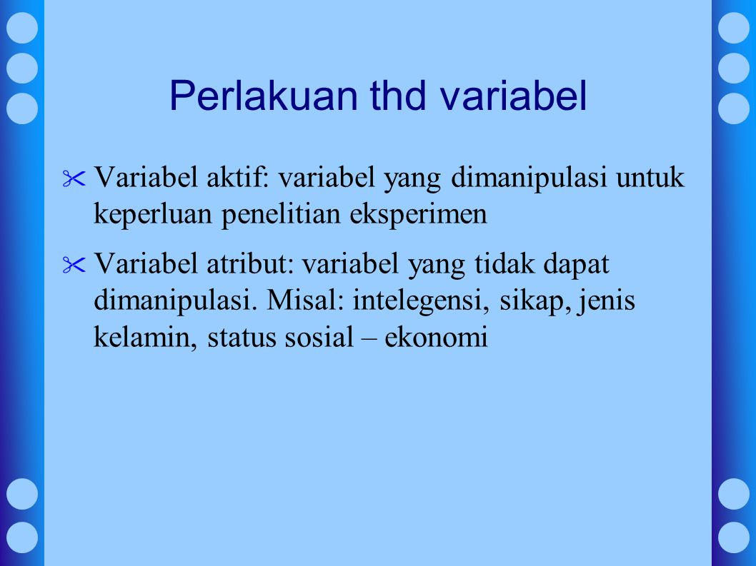 Perlakuan thd variabel